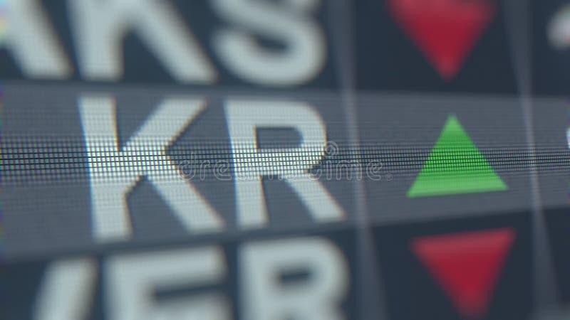 Relógio da bolsa de valores do KR de Kroger Rendição 3D editorial ilustração do vetor
