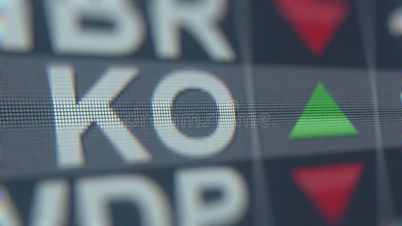 Relógio da bolsa de valores do nocaute de Coca-Cola Rendição 3D editorial ilustração do vetor