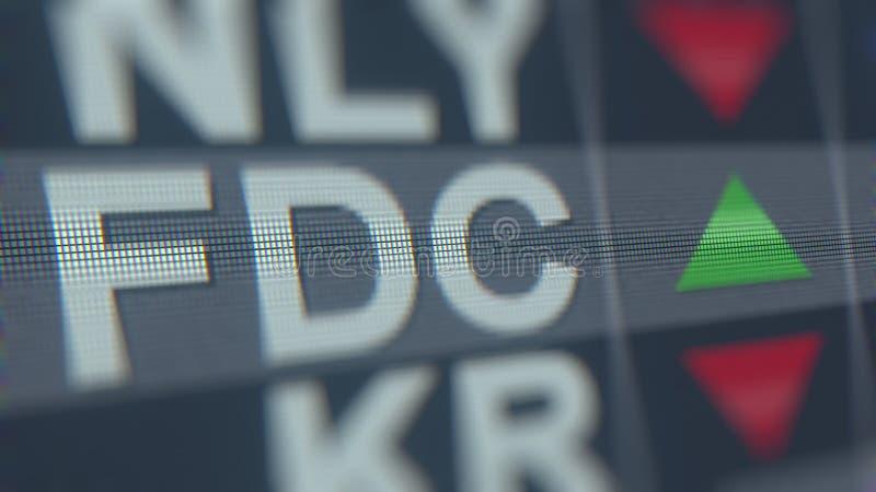 Relógio da bolsa de valores do PRIMEIRO CL dos DADOS Um FDC Rendição 3D editorial ilustração stock