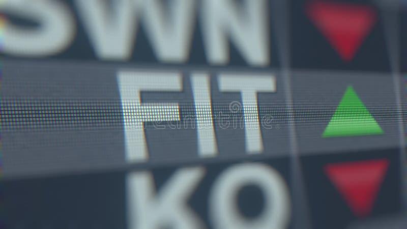 Relógio da bolsa de valores da FIT de Fitbit Rendição 3D editorial ilustração do vetor