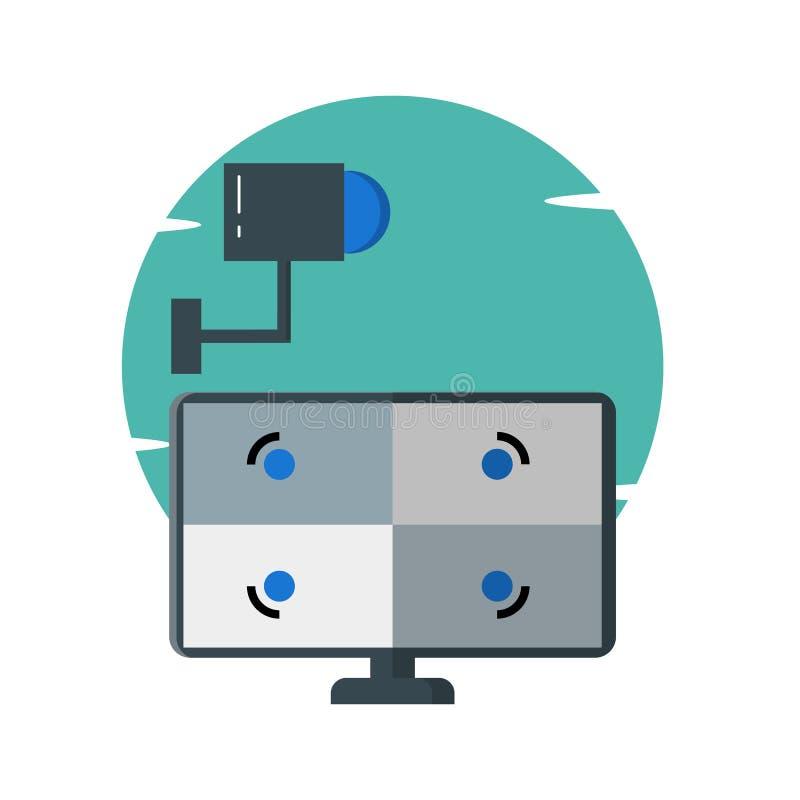 Relógio da câmara de segurança do CCTV, ilustração do computador - vetor ilustração do vetor
