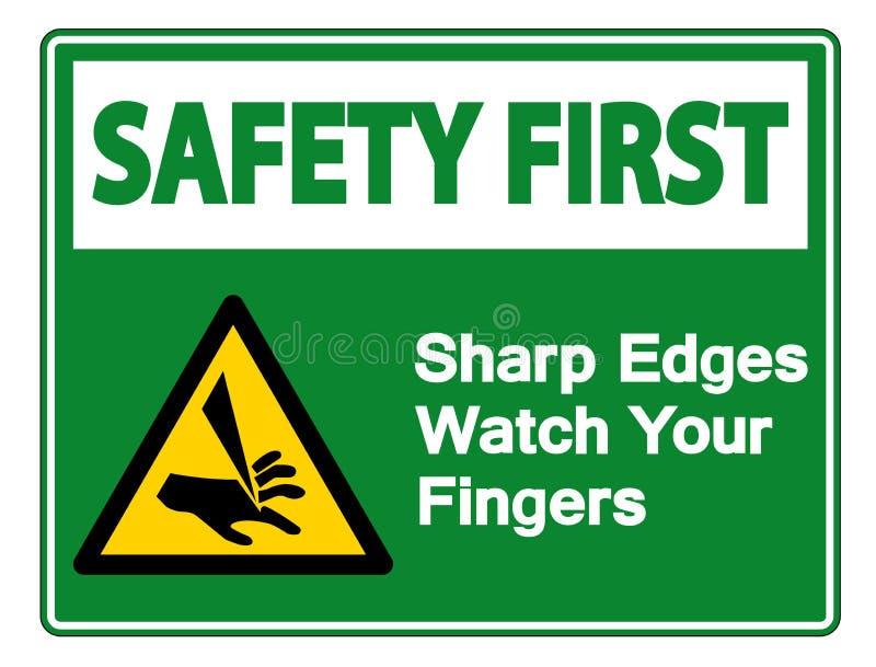 Relógio das bordas afiadas da segurança em primeiro lugar seu isolado do sinal do símbolo dos dedos no fundo branco, ilustração d ilustração stock