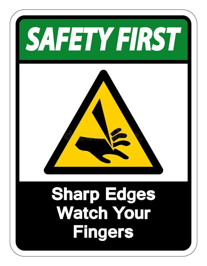Relógio das bordas afiadas da segurança em primeiro lugar seu isolado do sinal do símbolo dos dedos no fundo branco, ilustração d ilustração do vetor