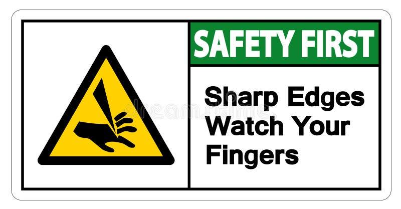 Relógio das bordas afiadas da segurança em primeiro lugar seu isolado do sinal do símbolo dos dedos no fundo branco, ilustração d ilustração royalty free