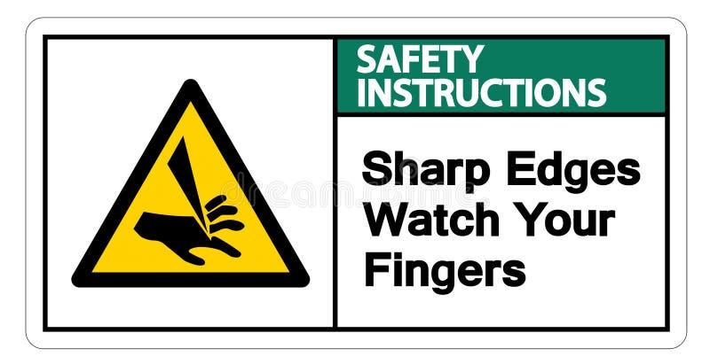Relógio das bordas afiadas de instruções de segurança seu isolado do sinal do símbolo dos dedos no fundo branco, ilustração do ve ilustração do vetor