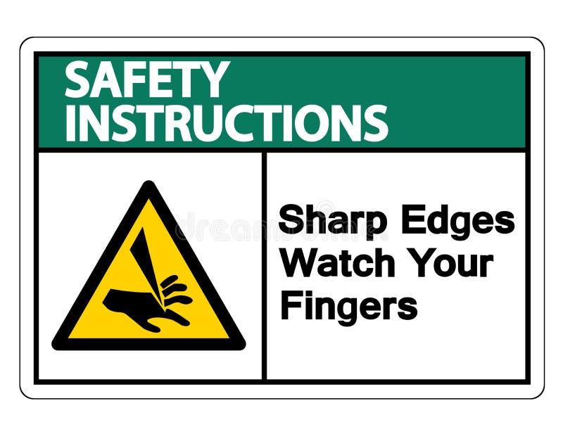Relógio das bordas afiadas de instruções de segurança seu isolado do sinal do símbolo dos dedos no fundo branco, ilustração do ve ilustração royalty free
