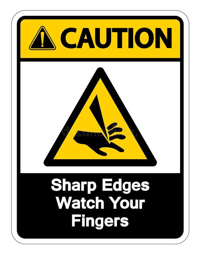 Rel?gio das bordas afiadas do cuidado seu isolado do sinal do s?mbolo dos dedos no fundo branco, ilustra??o do vetor ilustração stock