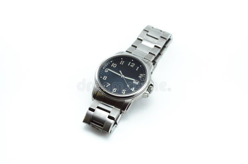 Relógio de aço moderno com o seletor preto isolado foto de stock royalty free