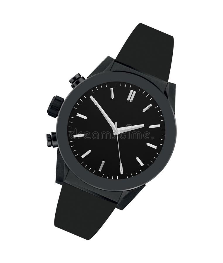 Relógio de aço preto isolado imagens de stock royalty free
