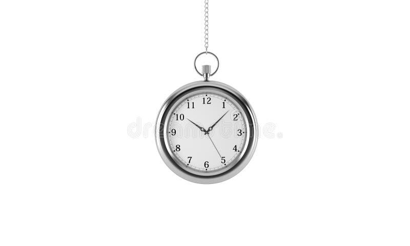 Relógio de bolso de prata Isolado no fundo branco ilustração do vetor