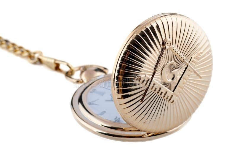 Relógio de bolso dourado do Freemason imagem de stock