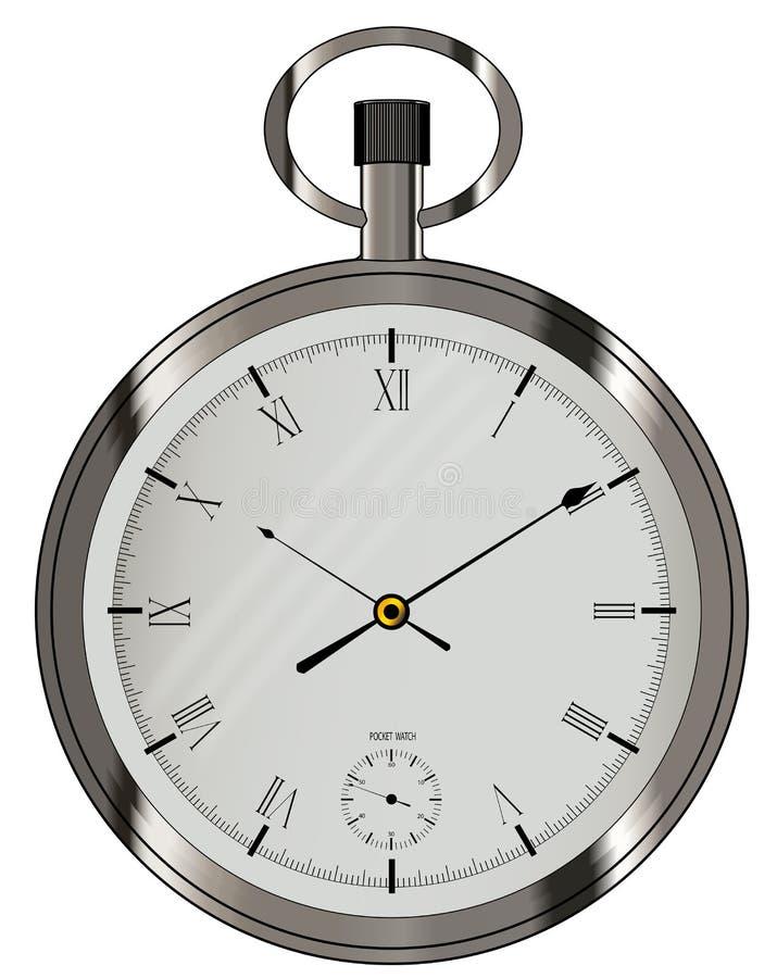 Relógio de bolso de prata isolado no branco ilustração stock