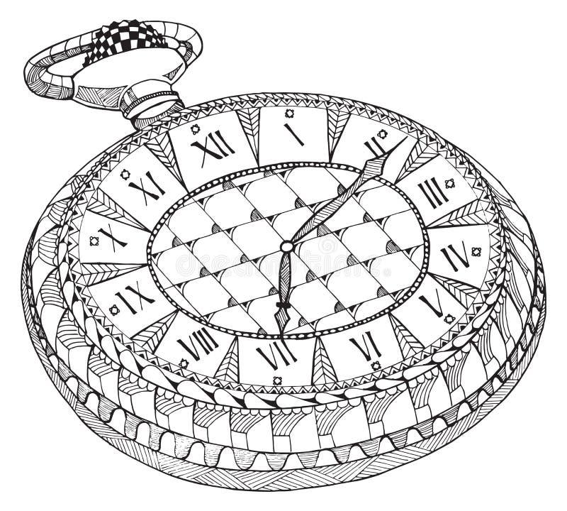 relógio de bolso retro Zentangle estilizou Teste padrão Relógio do vintage ilustração do vetor