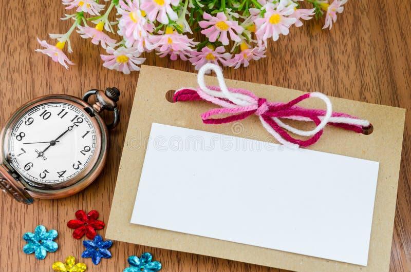 Relógio de bolso vazio da etiqueta e do vintage imagem de stock