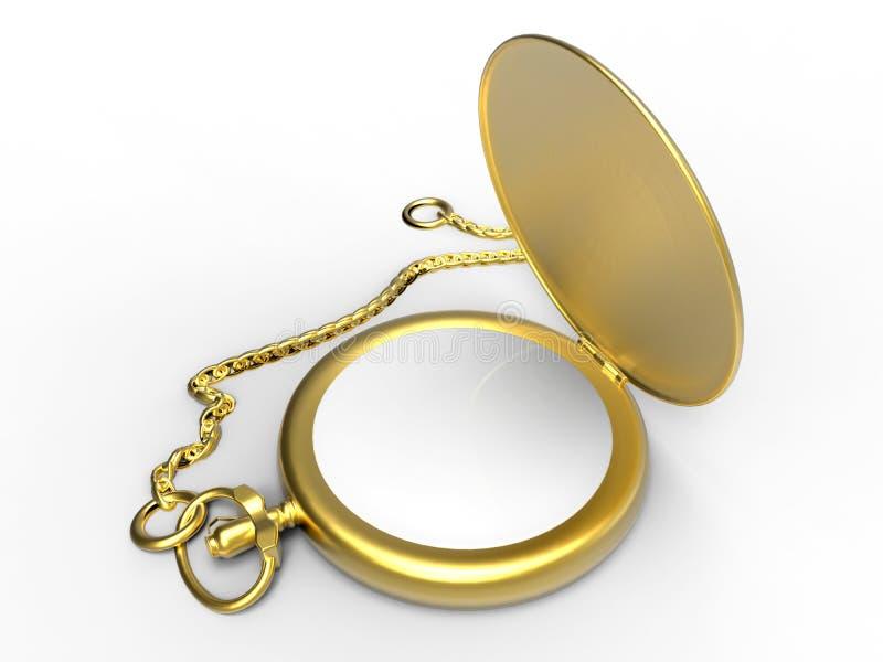 Relógio de bolso vazio dourado ilustração do vetor