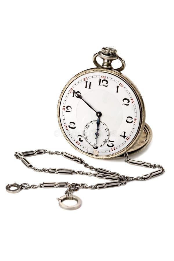 Relógio de bolso velho com uma corrente imagens de stock royalty free