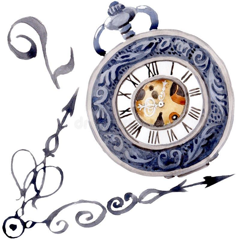 Relógio de bolso velho do pulso de disparo do vintage Grupo da ilustra??o do fundo da aquarela Elemento isolado da ilustração dos ilustração stock