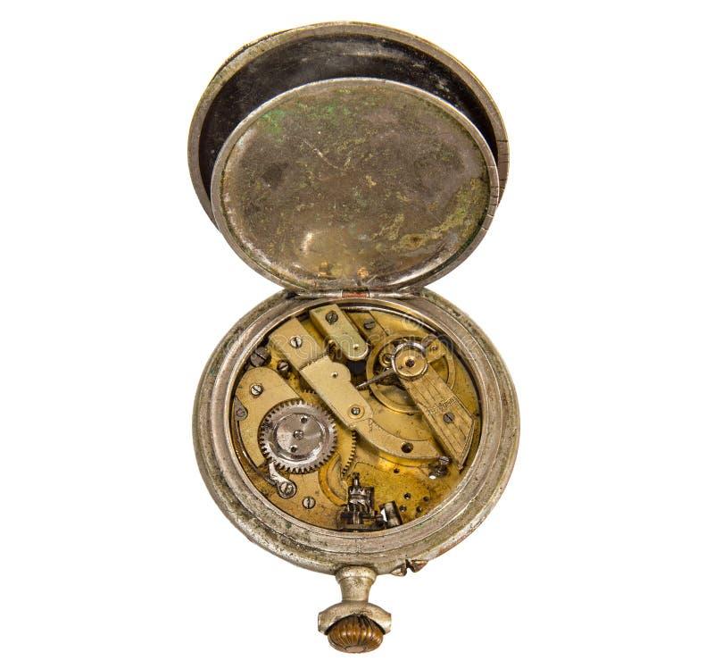 Relógio de bolso velho, quebrado sem seletor imagem de stock