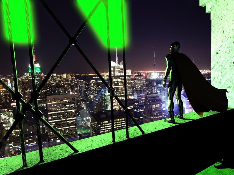 Relógio de noite do super-herói ilustração do vetor