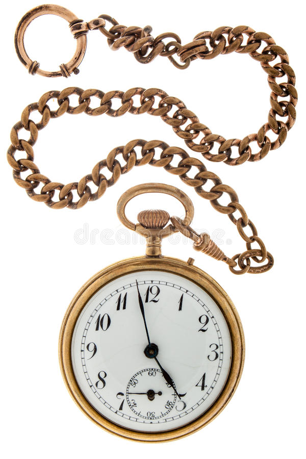 Relógio de ouro antigo uma corrente imagens de stock