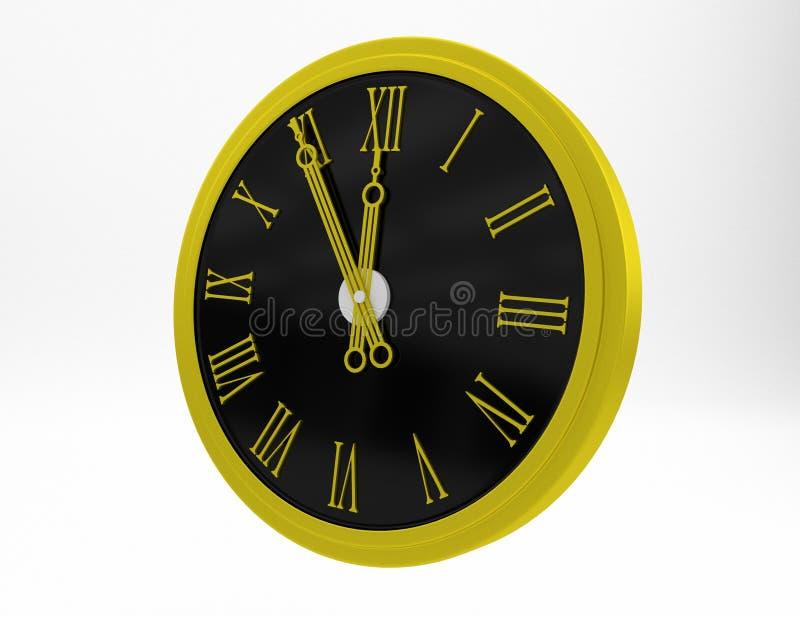 Relógio de ouro com numerais romanos ilustração stock