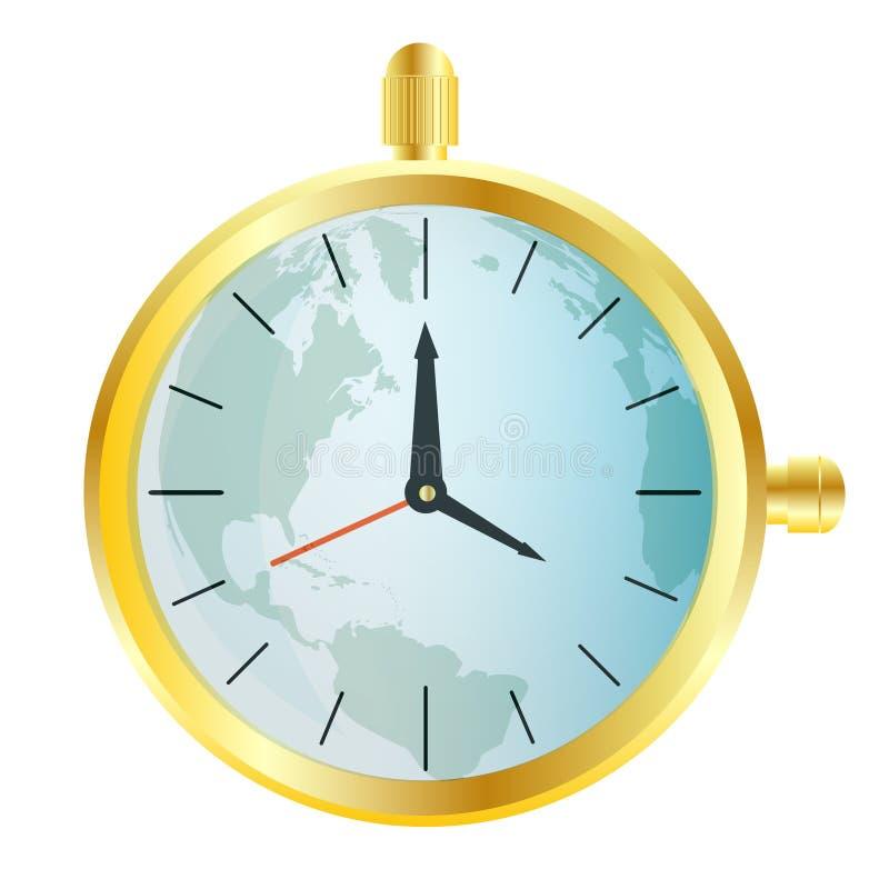 Relógio de ouro com o cartão do mundo ilustração do vetor