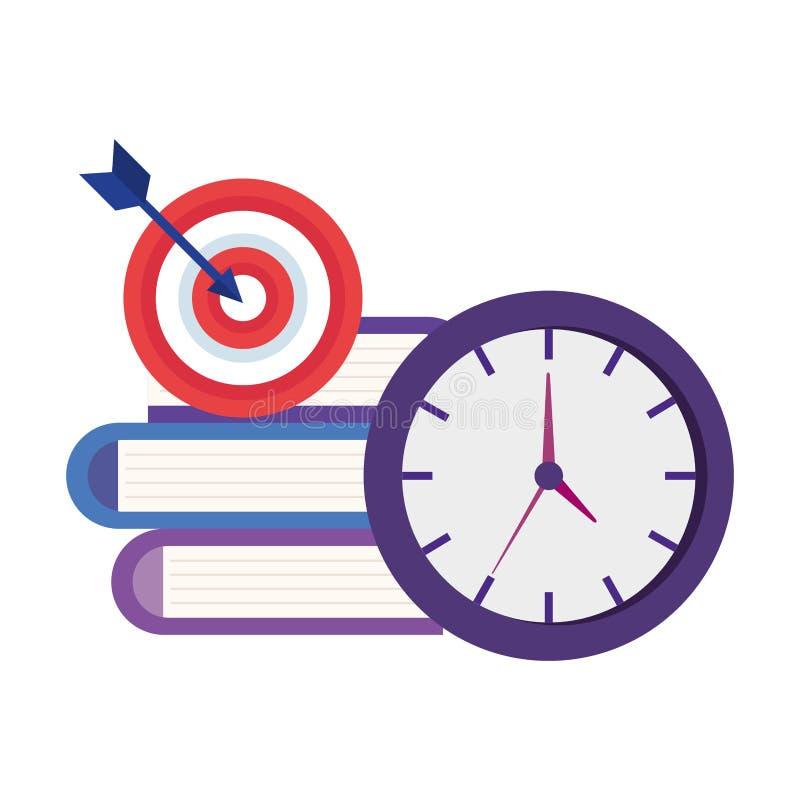 Relógio de ponto com livros e alvo ilustração stock