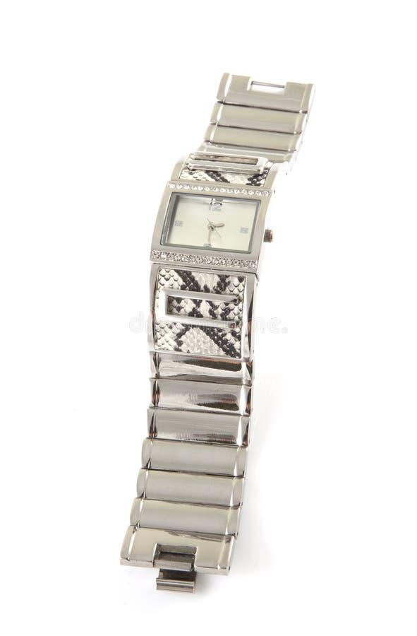 Relógio de prata fotografia de stock