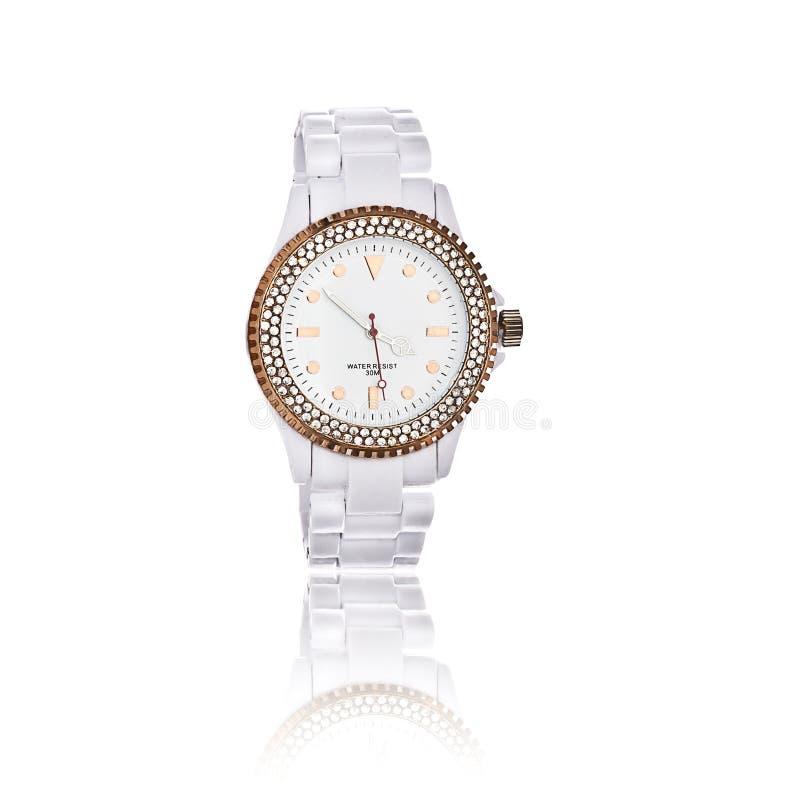 Relógio de pulso das mulheres brancas imagens de stock