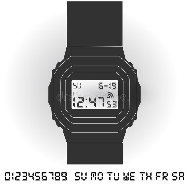 Relógio de pulso digital eletrônico ilustração do vetor