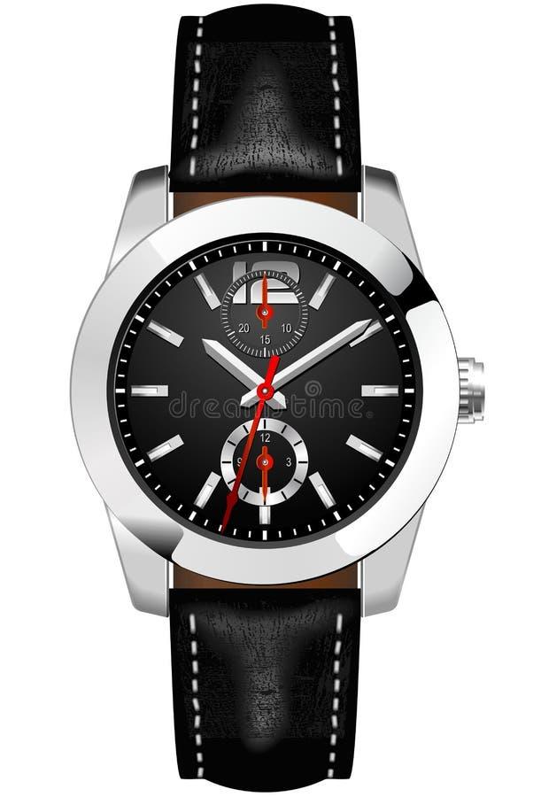 Relógio de pulso dos homens análogos clássicos ilustração do vetor