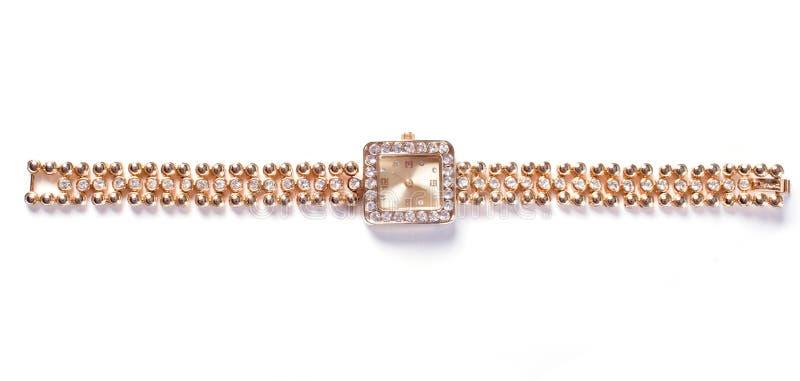 Relógio de pulso dourado com gemas imagem de stock royalty free