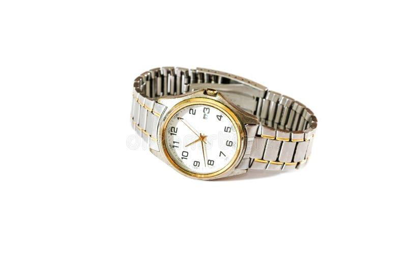 Relógio de pulso em um fundo branco fotografia de stock royalty free