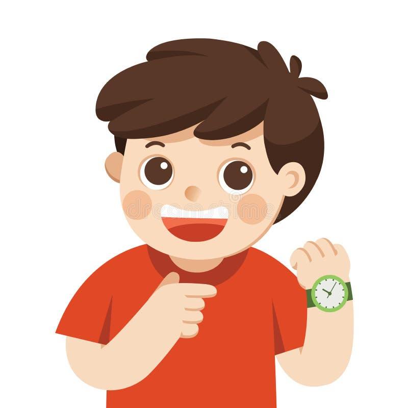 Relógio de pulso feliz da exibição do menino Mostra um momento Rapaz pequeno que aponta no seu levantamento do relógio de pulso ilustração do vetor