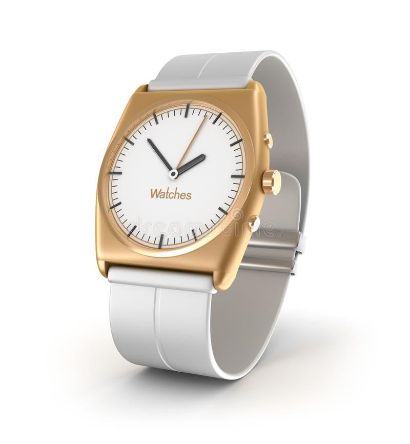 Relógio de pulso luxuoso na cor do ouro isolado no fundo branco. ilustração royalty free