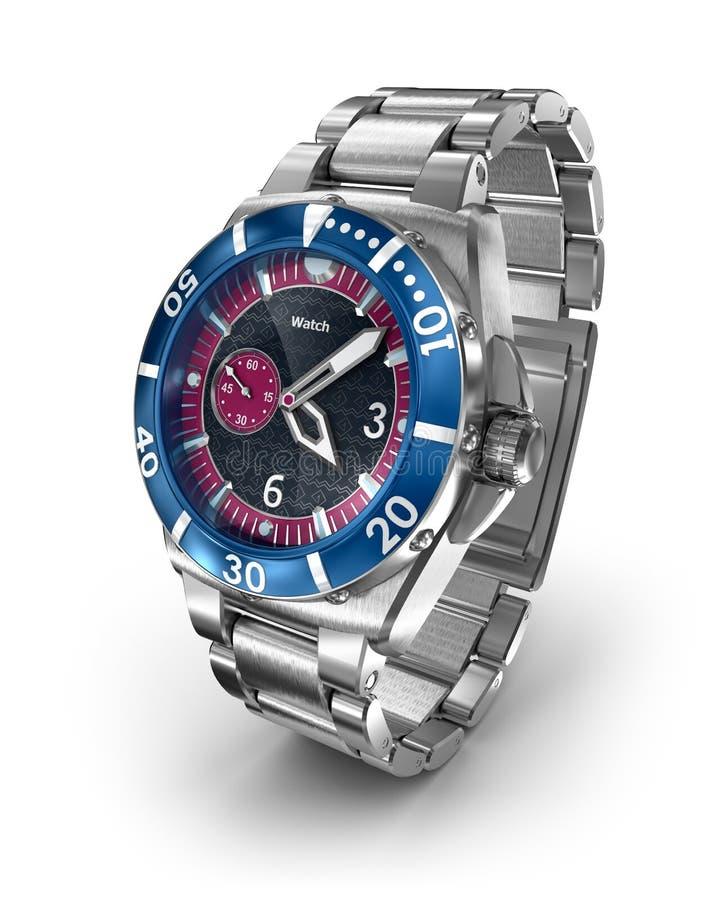 Relógio de pulso mecânico modelo 3d ilustração do vetor