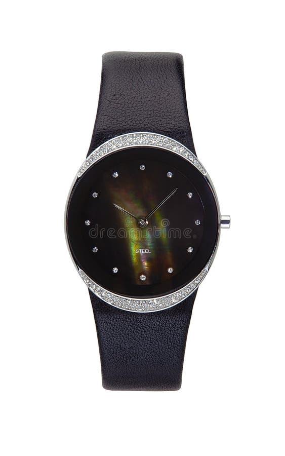 Relógio de pulso de prata círculo isolado fotos de stock royalty free