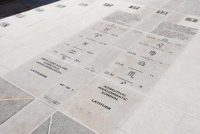 Relógio de sol analemmatic Azimuthal na terra, Trieste, Itália imagem de stock