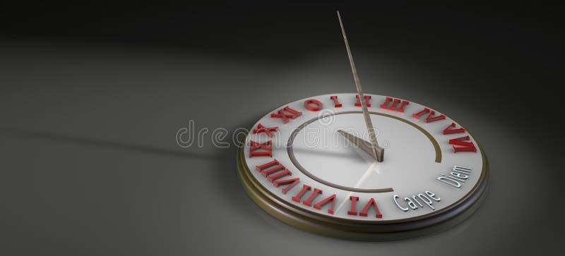 Relógio de sol na ilustração 3D ilustração stock