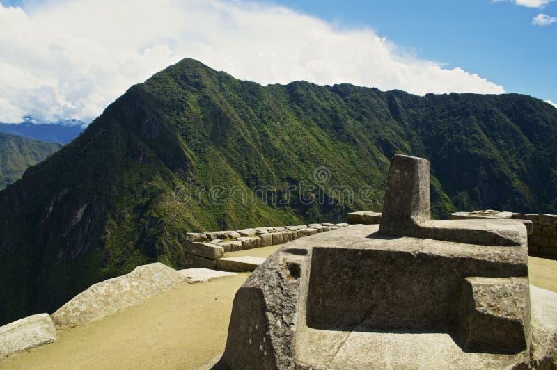 Relógio de sol na parte superior de Machu Picchu imagens de stock