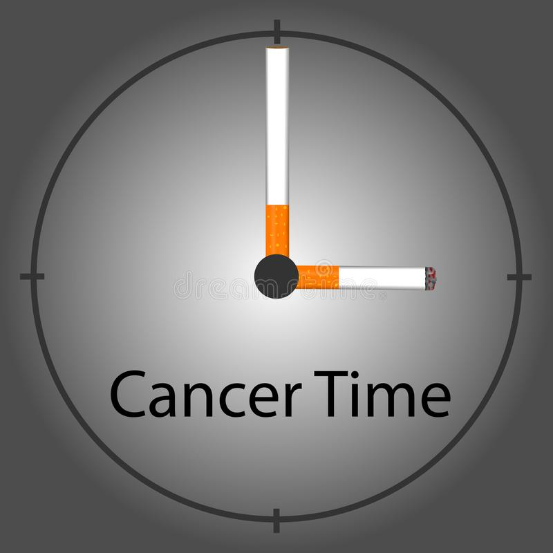 Relógio do cigarro do cigarro que marca a época do câncer fotografia de stock royalty free