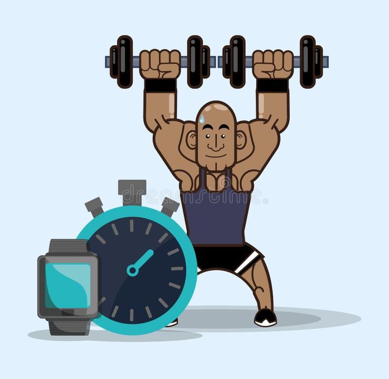 Relógio do cronômetro do peso do peso da aptidão do halterofilista ilustração do vetor
