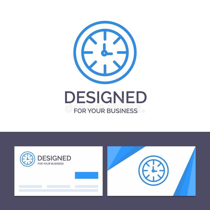 Relógio do molde criativo do cartão e do logotipo, temporizador, pulso de disparo, ilustração global do vetor ilustração royalty free