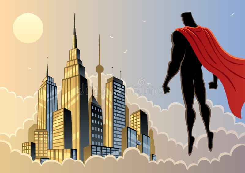 Relógio 5 do super-herói ilustração royalty free