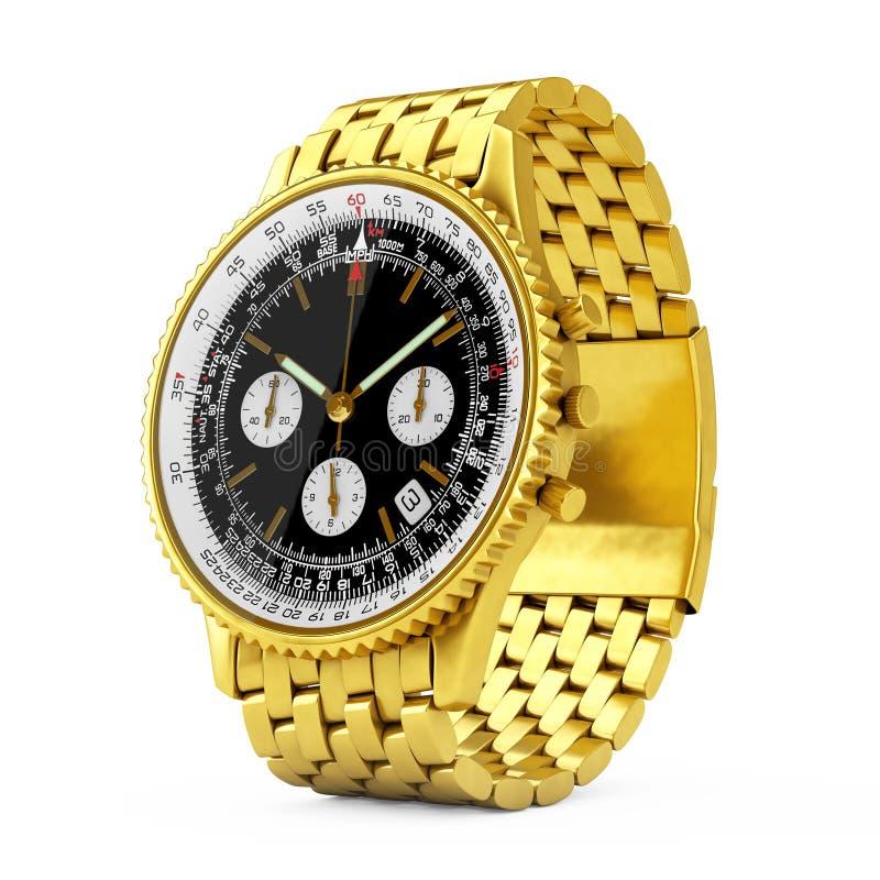 Relógio dourado do pulso análogo clássico luxuoso do ` s dos homens rendição 3d ilustração do vetor
