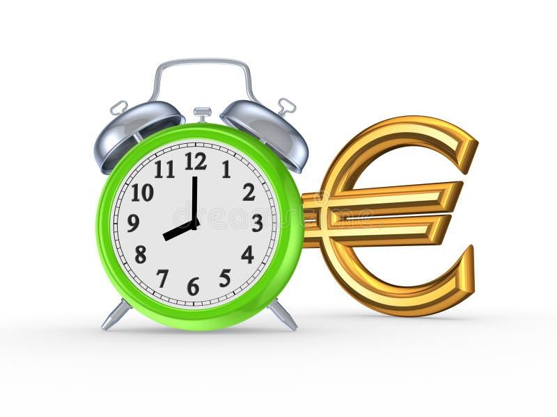 Relógio e sinal verdes do euro. ilustração stock