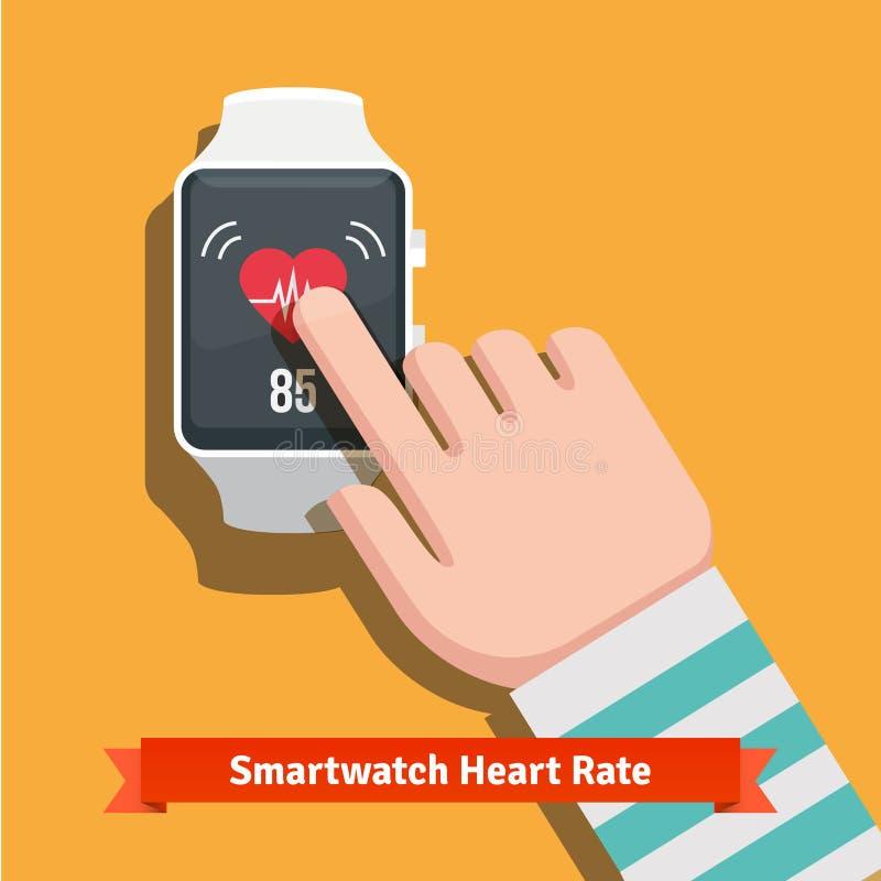 Relógio esperto branco que mostra a taxa app do batimento cardíaco ilustração stock