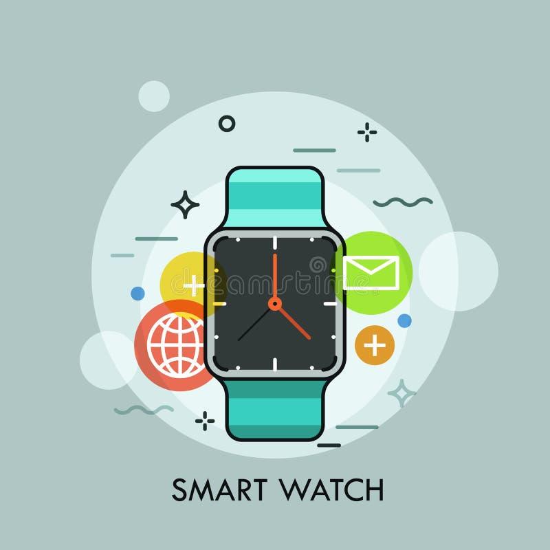 Relógio esperto cercado por ícones da aplicação Conceito do dispositivo eletrónico multifuncional portátil e do acessório moderno ilustração royalty free
