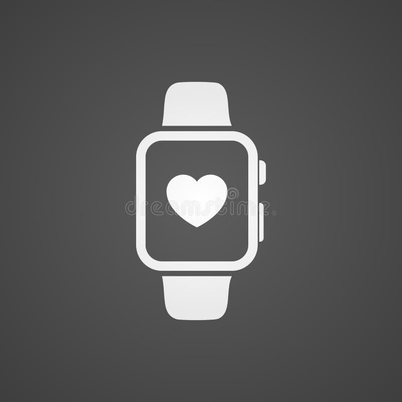 Relógio esperto com ícone da aplicação da saúde na tela ilustração stock