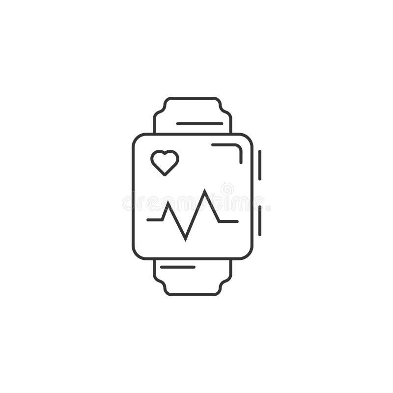 Relógio esperto com ícone do app da saúde Ilustração simples do elemento Relógio esperto com molde do projeto do símbolo do app d ilustração do vetor